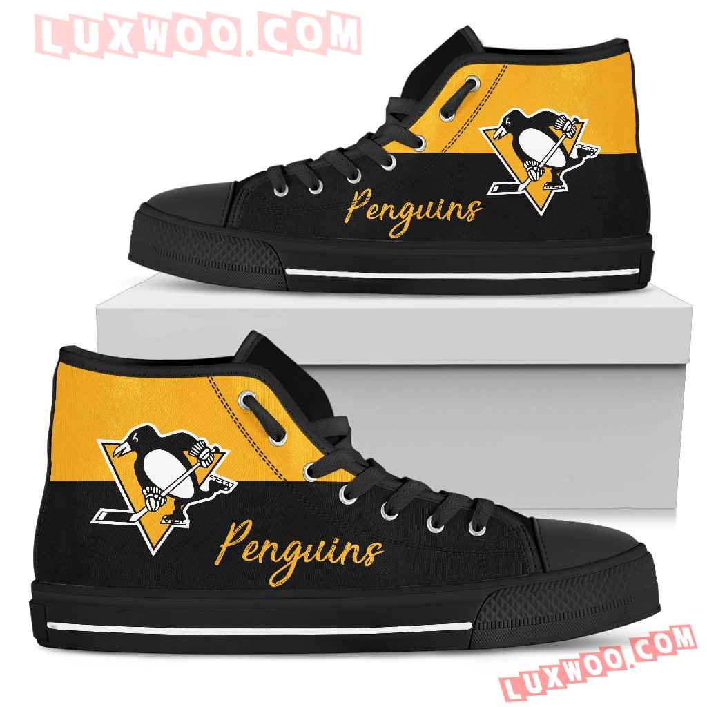 Divided Colours Stunning Logo Pittsburgh Penguins High Top Shoes