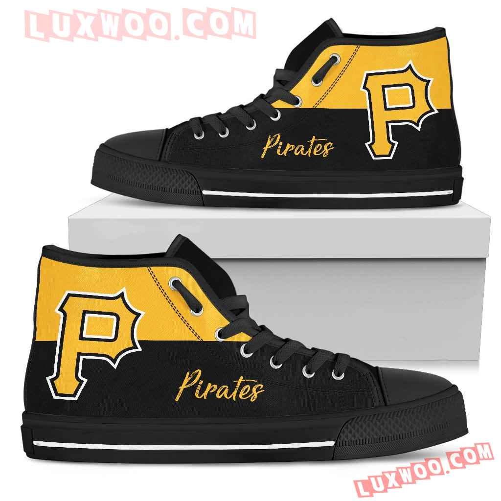 Divided Colours Stunning Logo Pittsburgh Pirates High Top Shoes