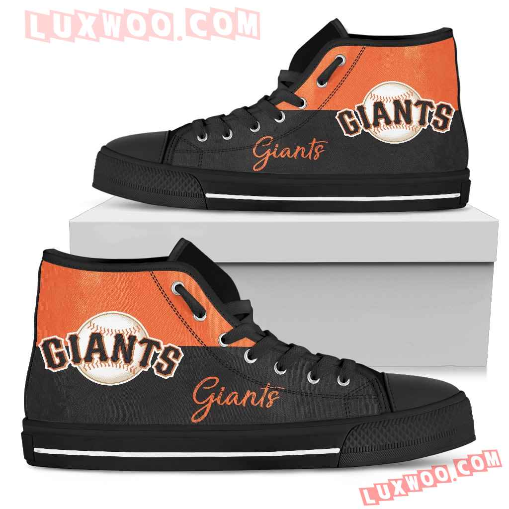 Divided Colours Stunning Logo San Francisco Giants High Top Shoes