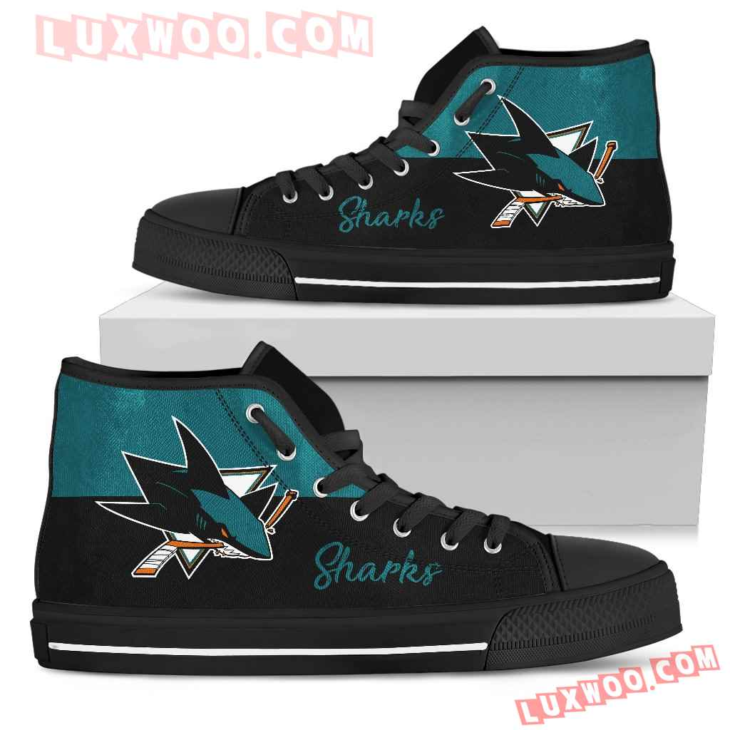 Divided Colours Stunning Logo San Jose Sharks High Top Shoes