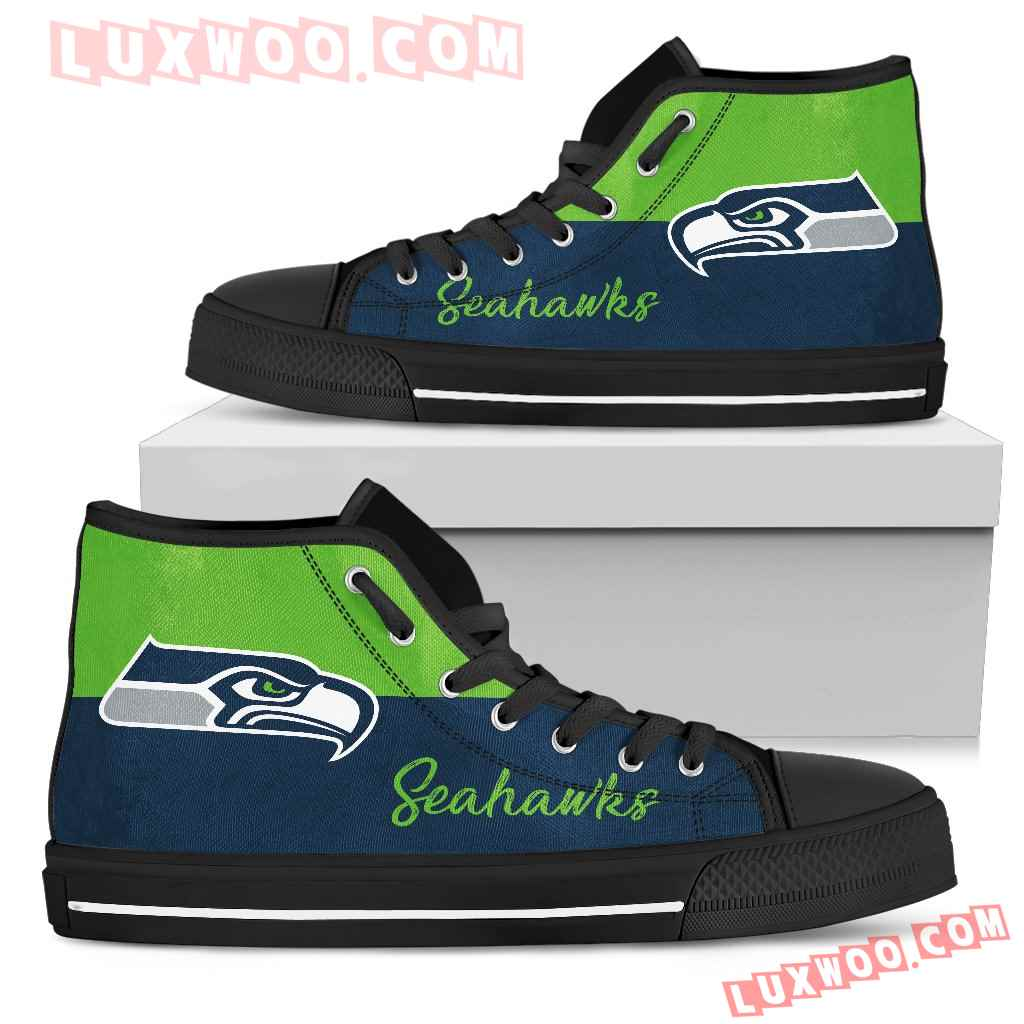 Divided Colours Stunning Logo Seattle Seahawks High Top Shoes