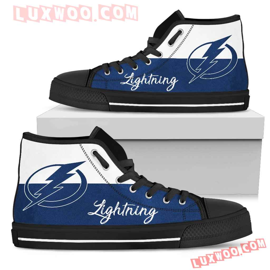 Divided Colours Stunning Logo Tampa Bay Lightning High Top Shoes
