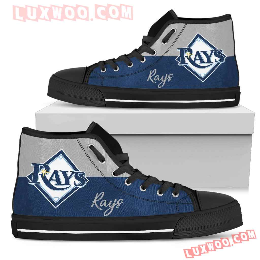 Divided Colours Stunning Logo Tampa Bay Rays High Top Shoes
