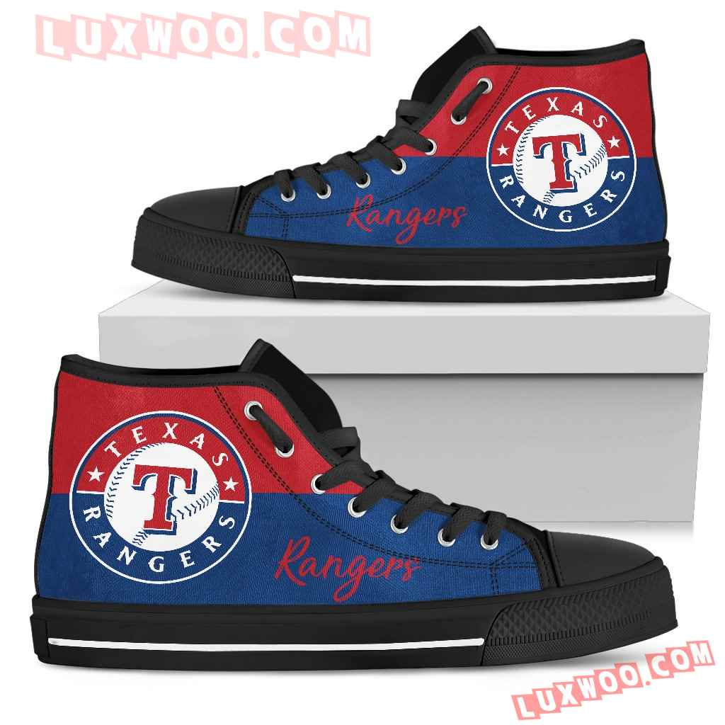 Divided Colours Stunning Logo Texas Rangers High Top Shoes