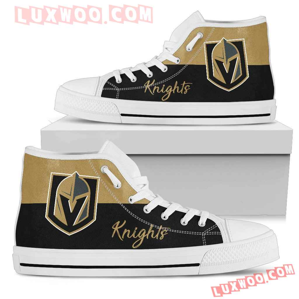 Divided Colours Stunning Logo Vegas Golden Knights High Top Shoes