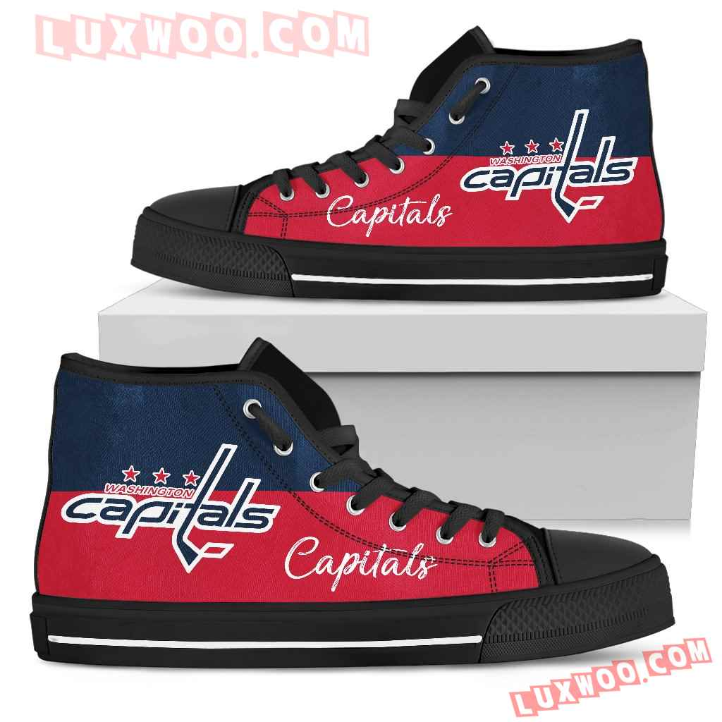 Divided Colours Stunning Logo Washington Capitals High Top Shoes