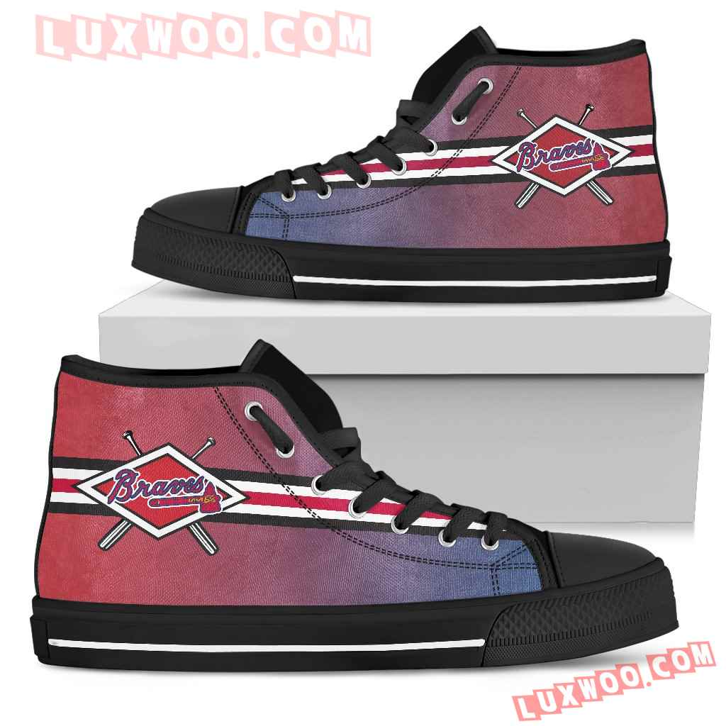 Double Stick Check Atlanta Braves High Top Shoes