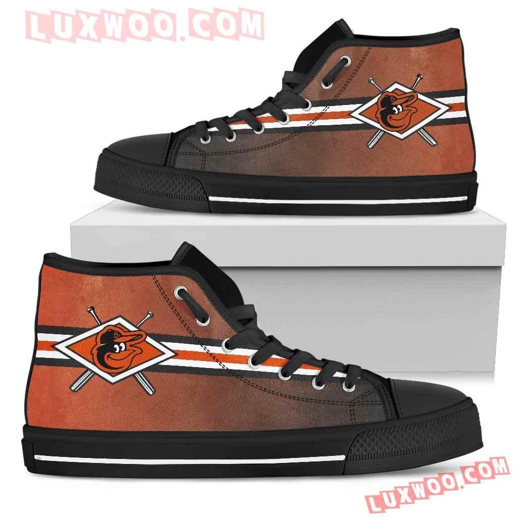 Double Stick Check Baltimore Orioles High Top Shoes