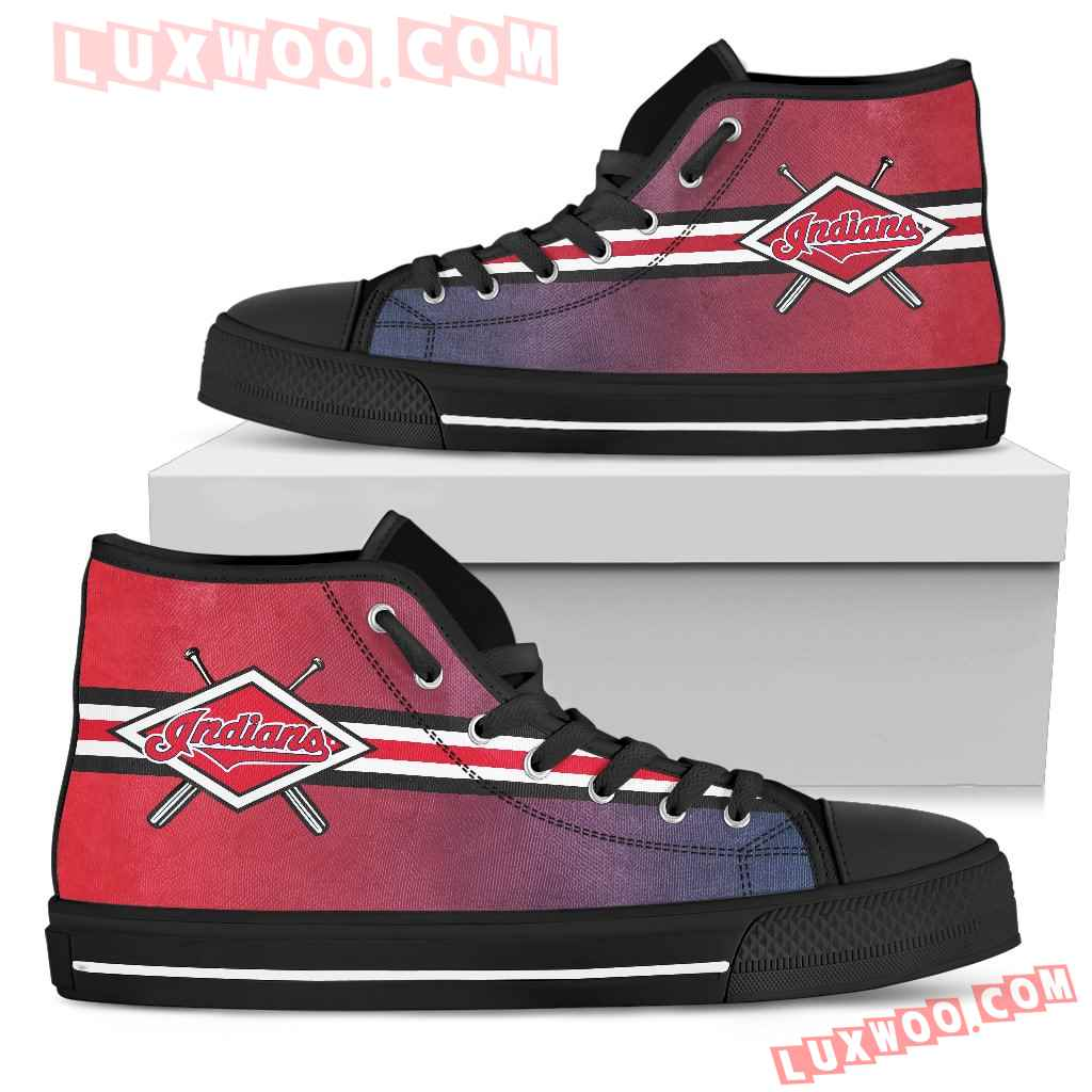 Double Stick Check Cleveland Indians High Top Shoes