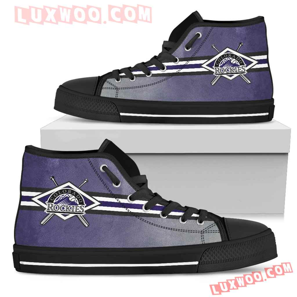 Double Stick Check Colorado Rockies High Top Shoes