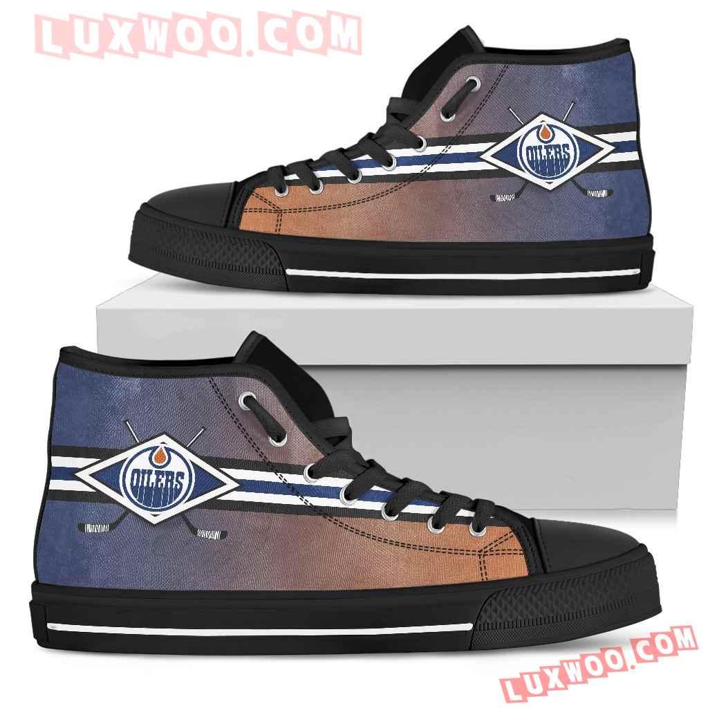 Double Stick Check Edmonton Oilers High Top Shoes