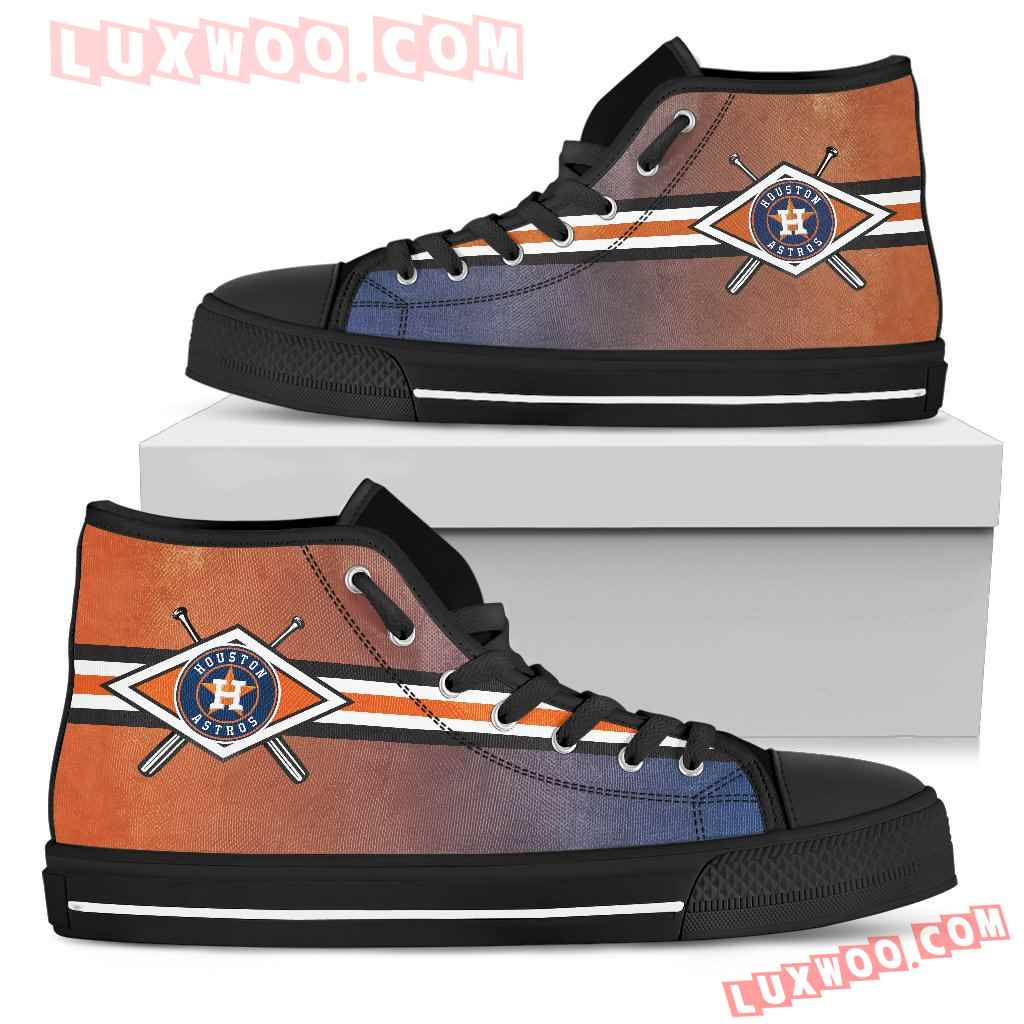 Double Stick Check Houston Astros High Top Shoes