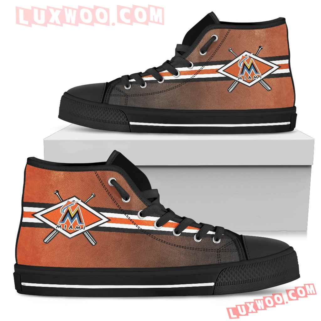 Double Stick Check Miami Marlins High Top Shoes
