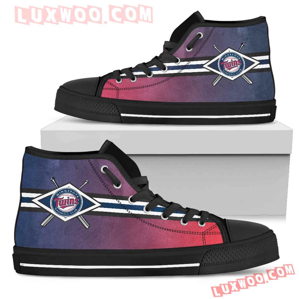 Double Stick Check Minnesota Twins High Top Shoes