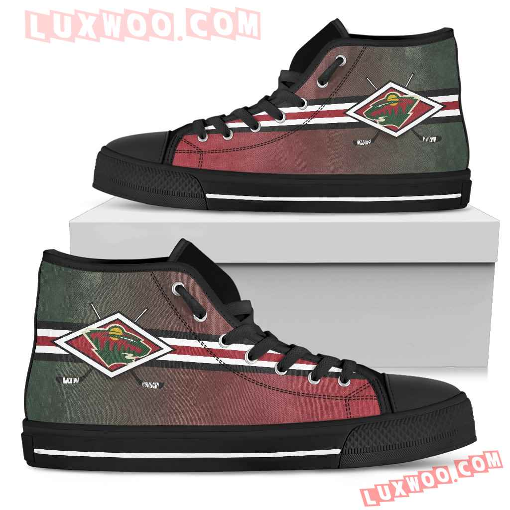 Double Stick Check Minnesota Wild High Top Shoes