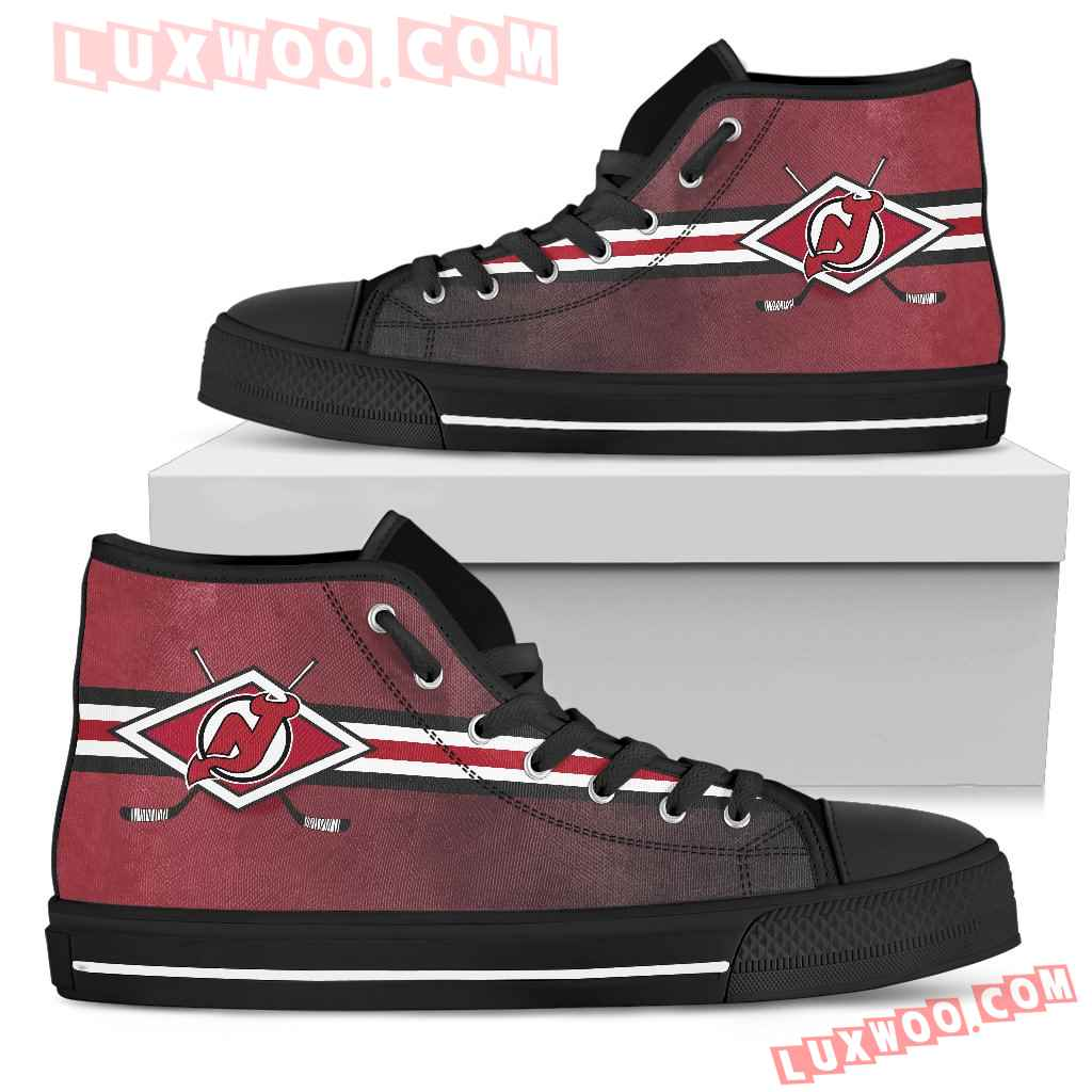 Double Stick Check New Jersey Devils High Top Shoes