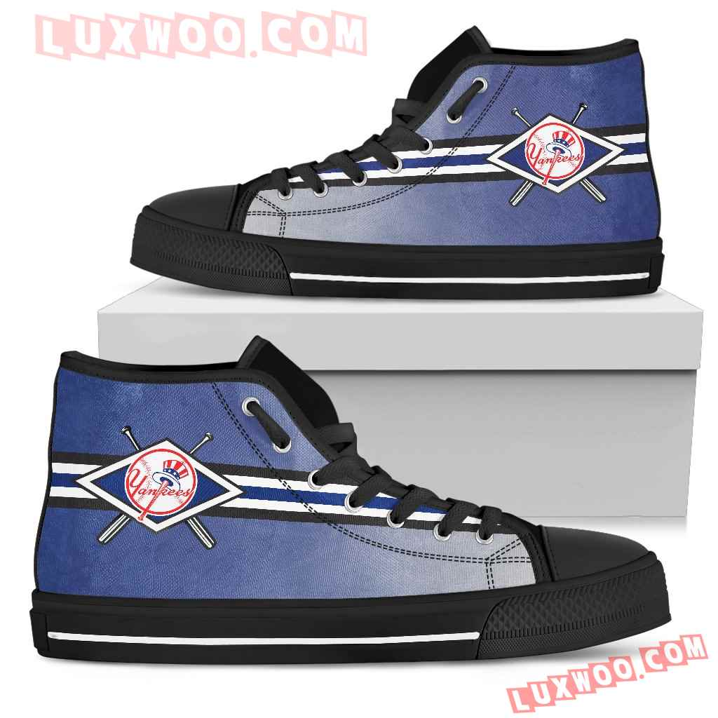 Double Stick Check New York Yankees High Top Shoes