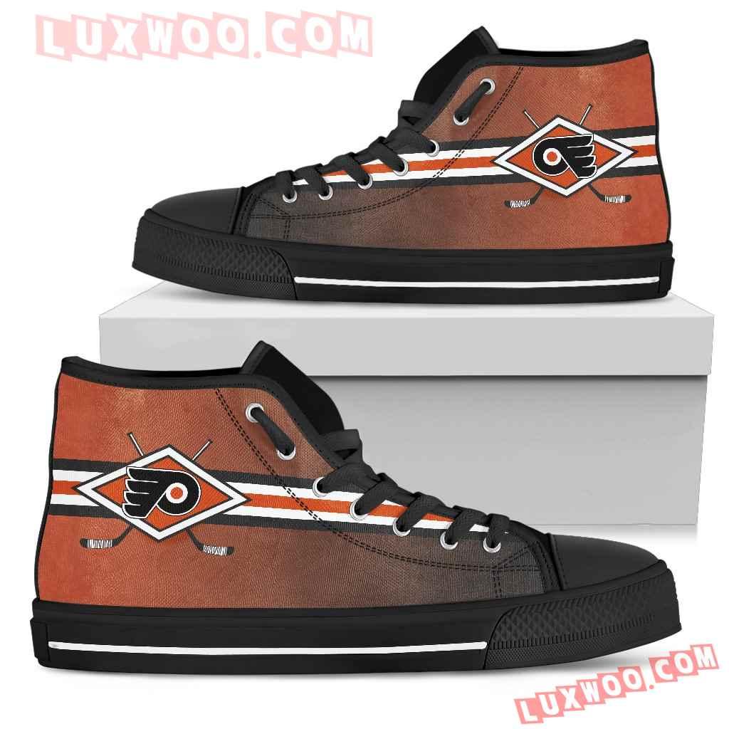 Double Stick Check Philadelphia Flyers High Top Shoes
