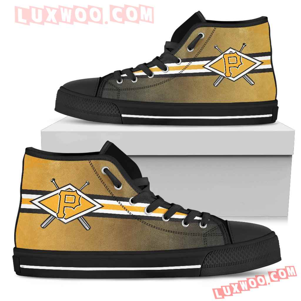 Double Stick Check Pittsburgh Pirates High Top Shoes