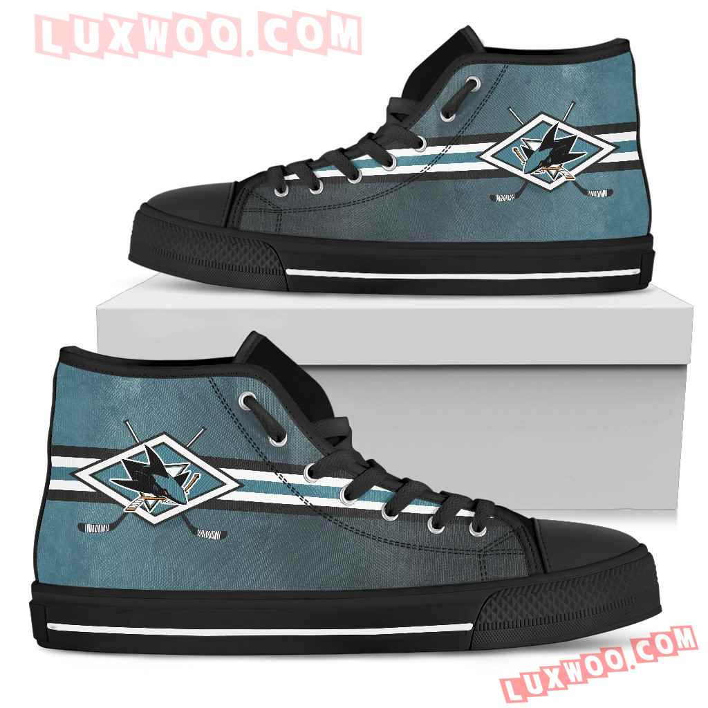 Double Stick Check San Jose Sharks High Top Shoes
