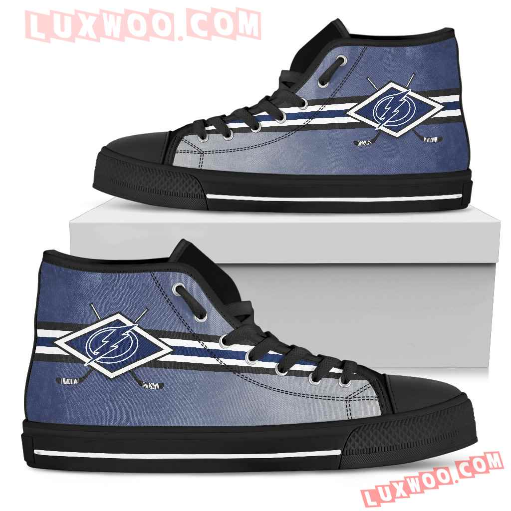 Double Stick Check Tampa Bay Lightning High Top Shoes