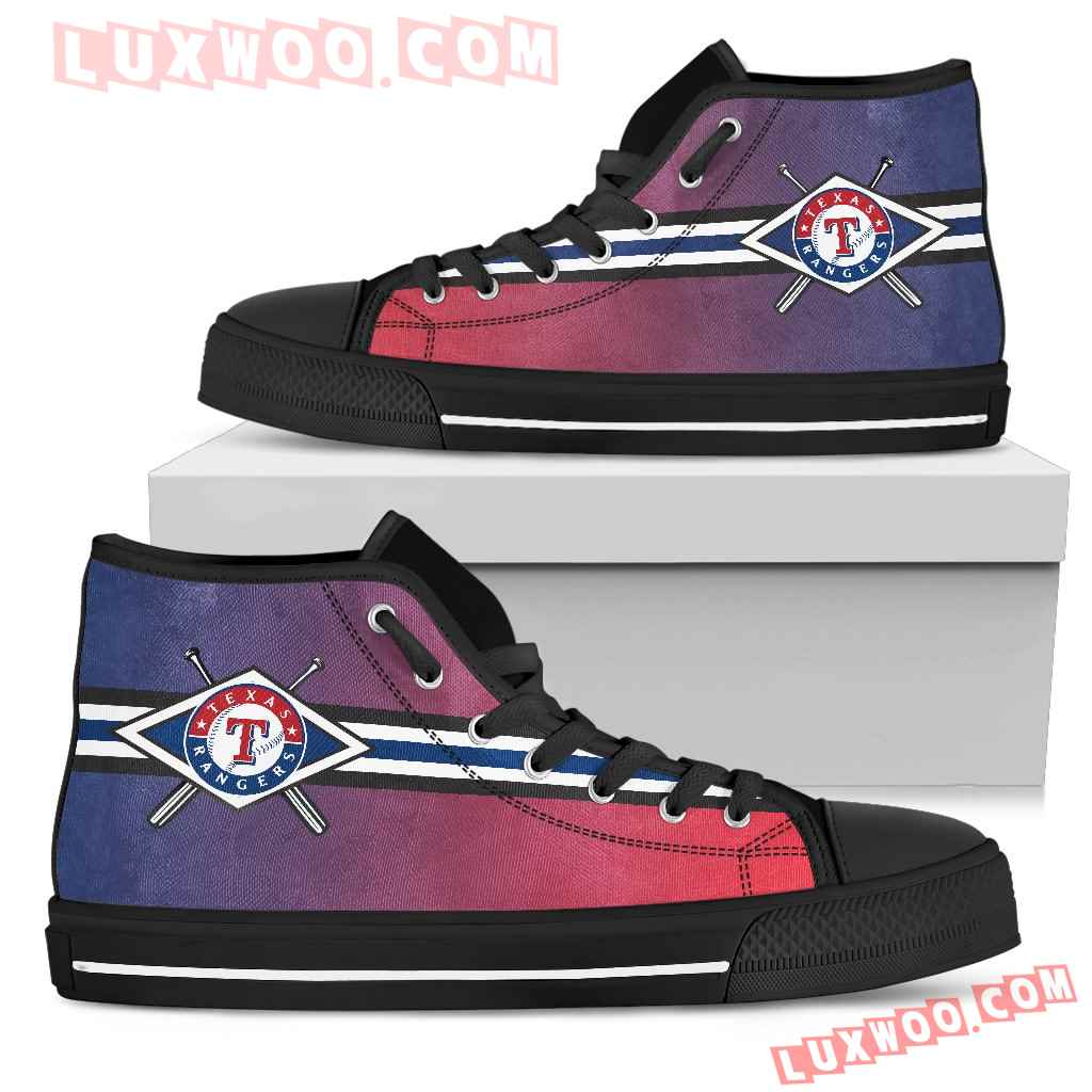 Double Stick Check Texas Rangers High Top Shoes