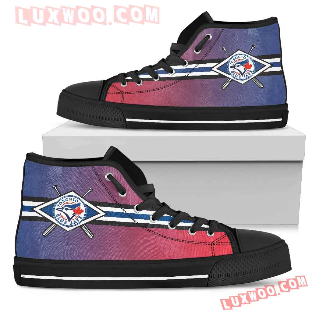 Double Stick Check Toronto Blue Jays High Top Shoes