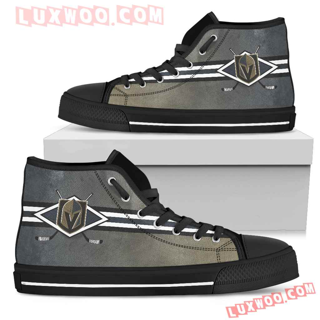 Double Stick Check Vegas Golden Knights High Top Shoes