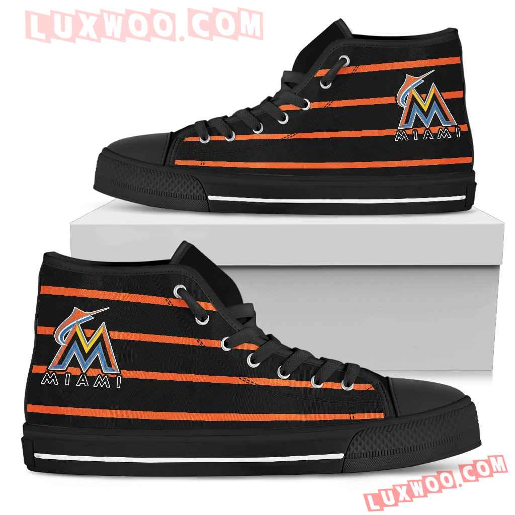 Edge Straight Perfect Circle Miami Marlins High Top Shoes