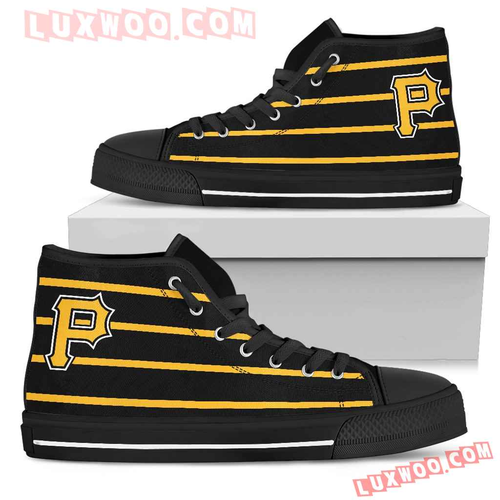 Edge Straight Perfect Circle Pittsburgh Pirates High Top Shoes
