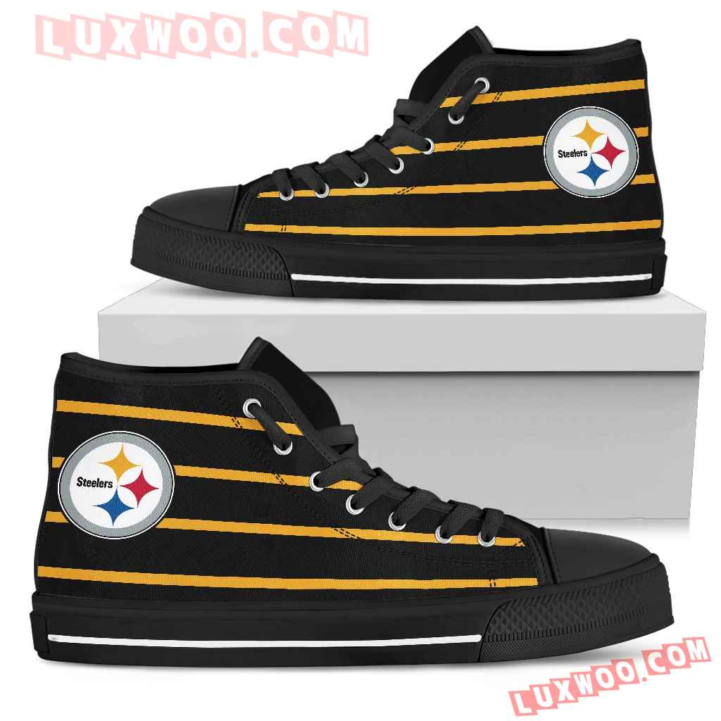 Edge Straight Perfect Circle Pittsburgh Steelers High Top Shoes
