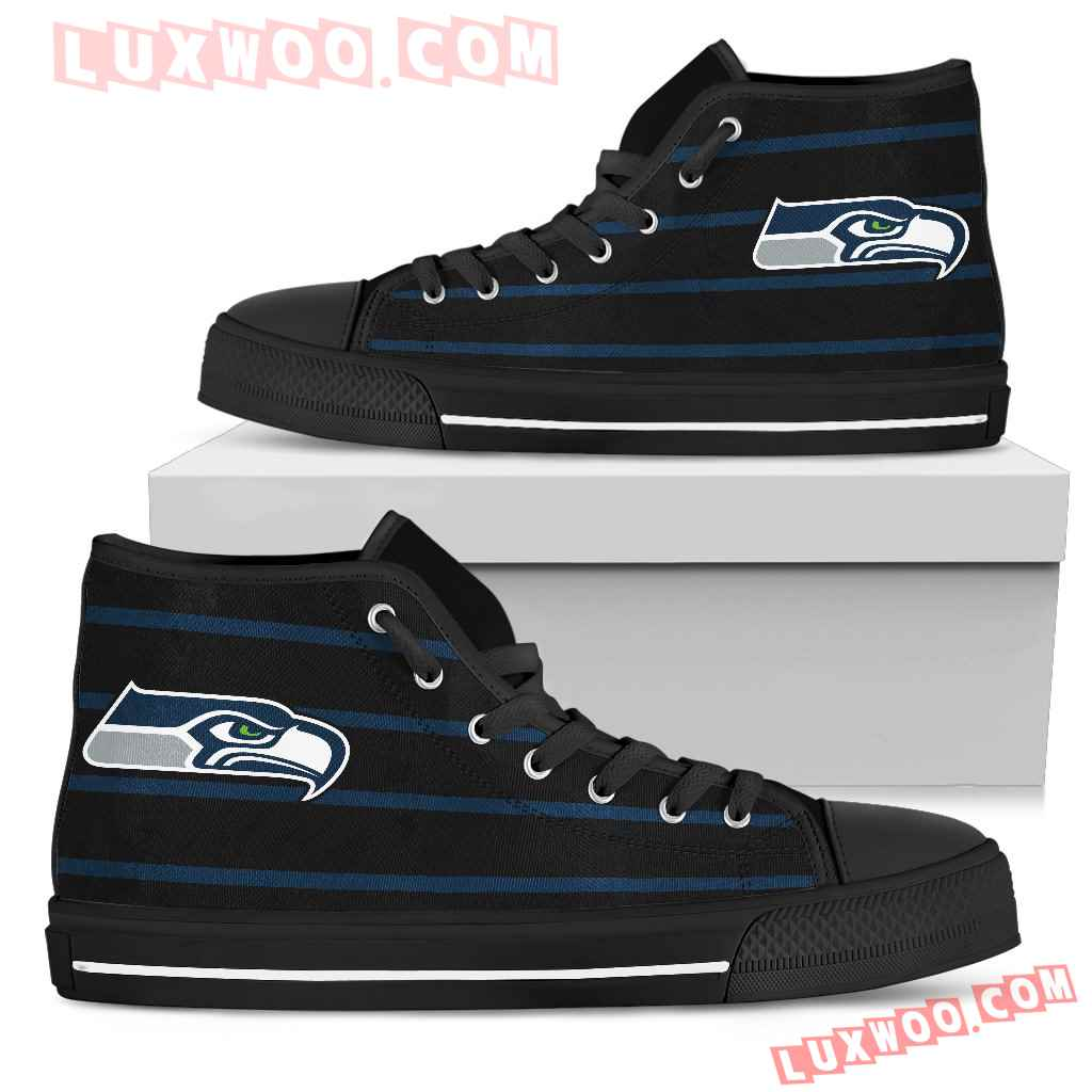 Edge Straight Perfect Circle Seattle Seahawks High Top Shoes