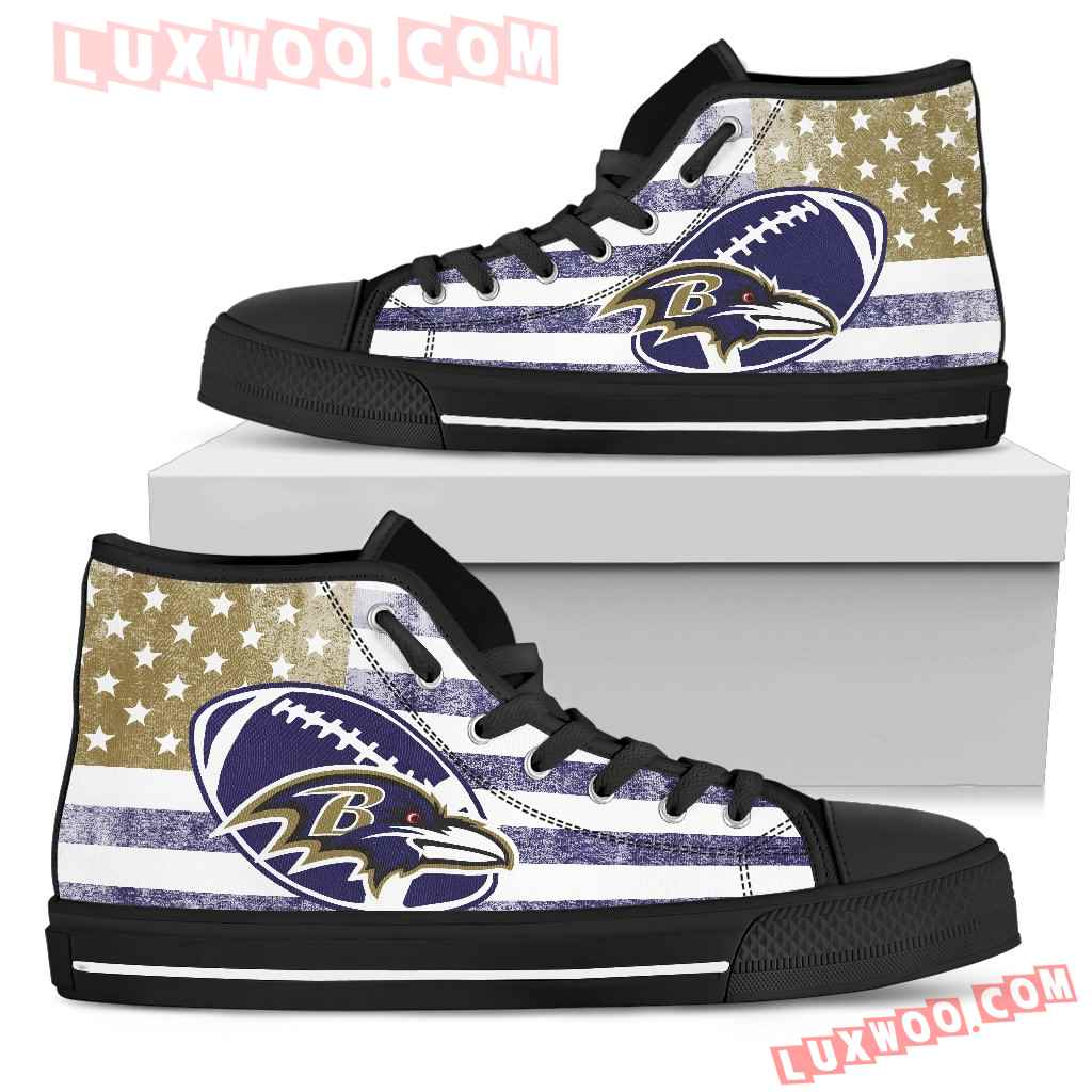 Flag Rugby Baltimore Ravens High Top Shoes
