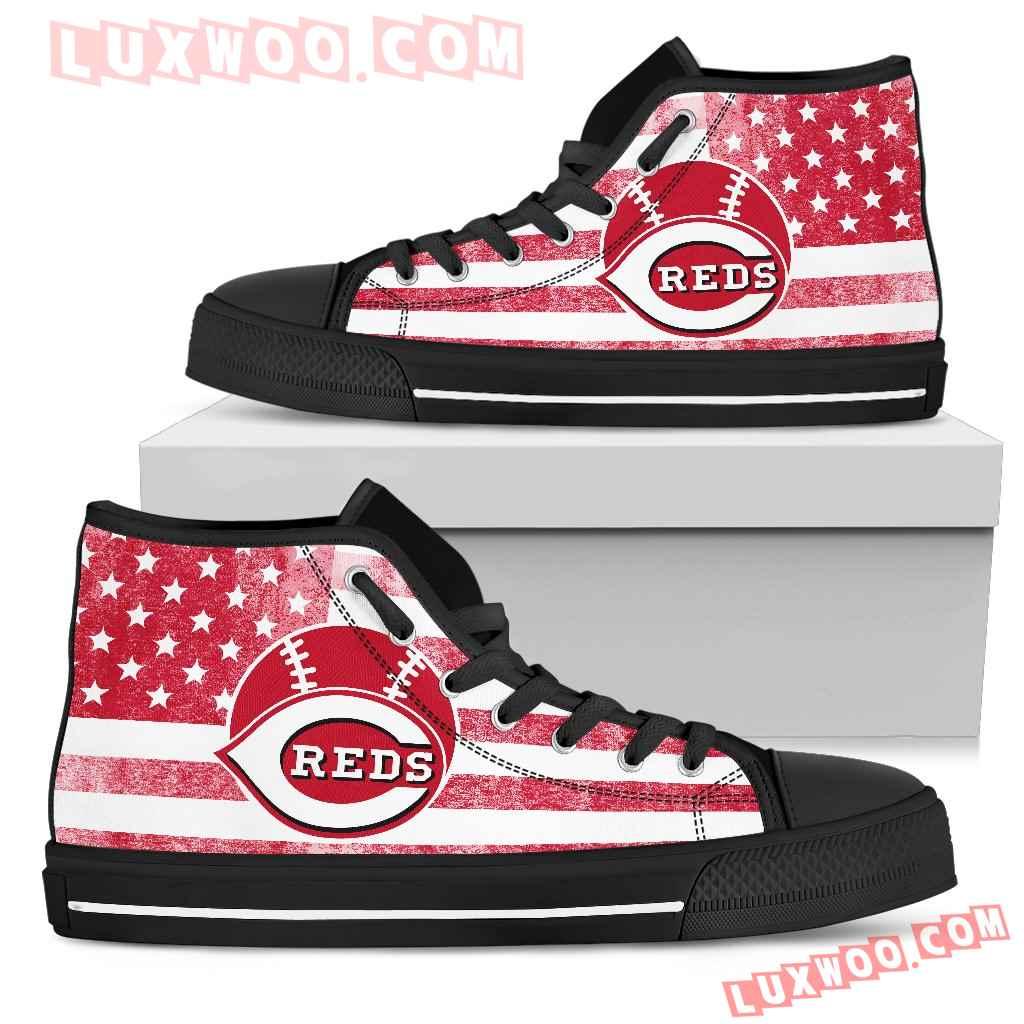 Flag Rugby Cincinnati Reds High Top Shoes