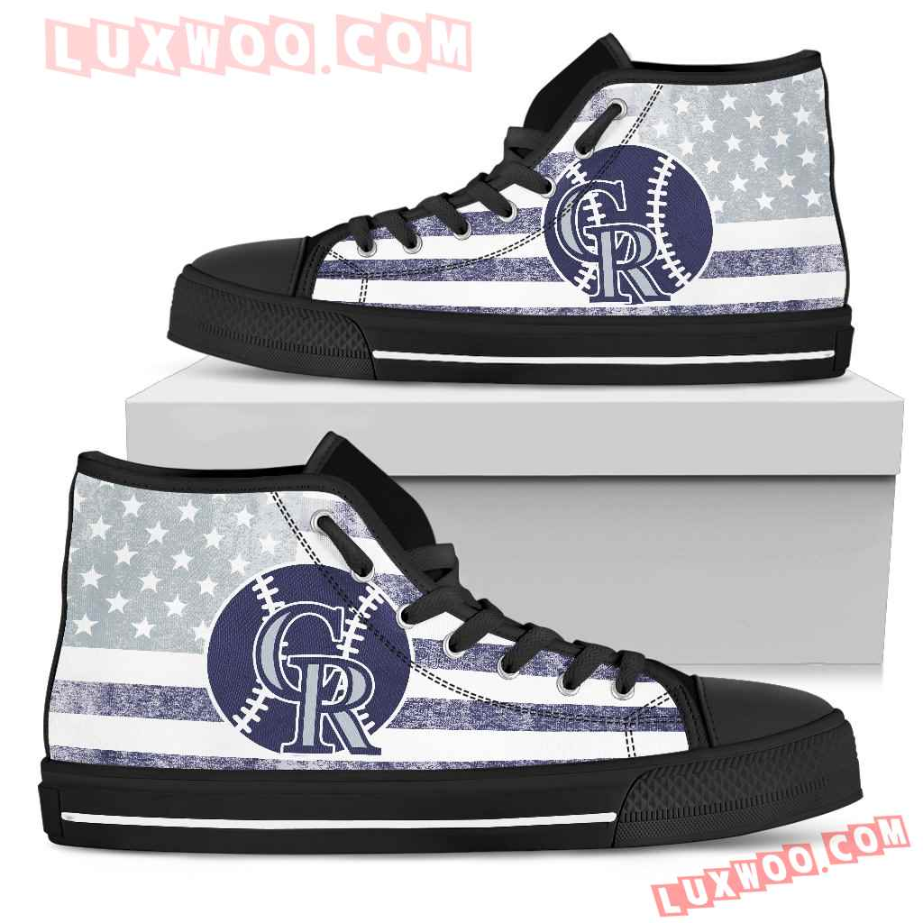 Flag Rugby Colorado Rockies High Top Shoes