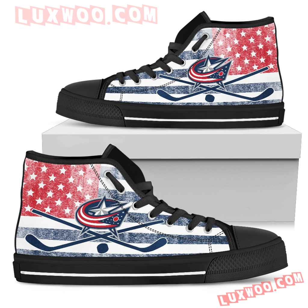 Flag Rugby Columbus Blue Jackets High Top Shoes