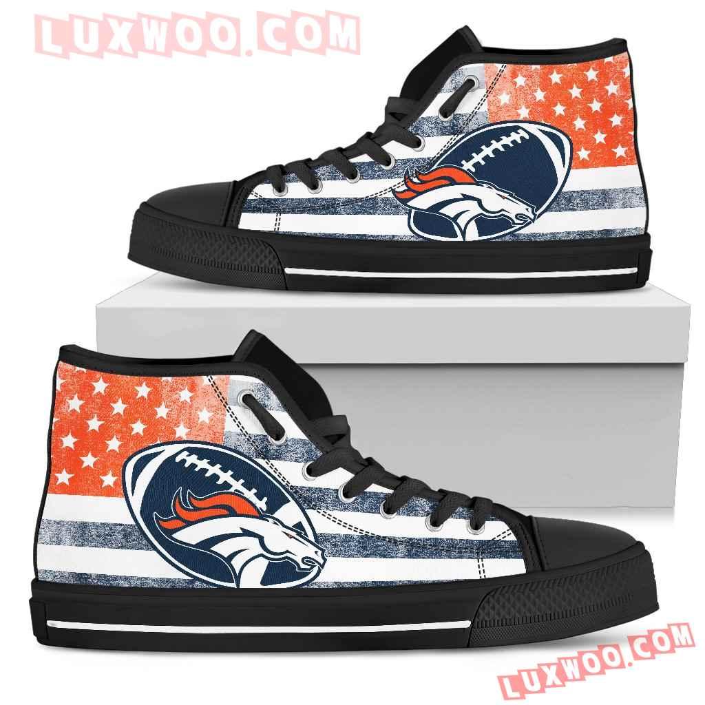 Flag Rugby Denver Broncos High Top Shoes