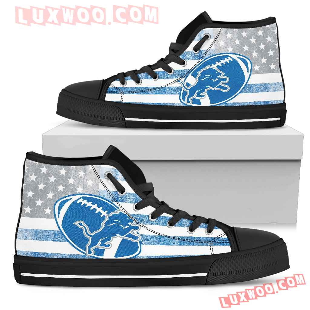 Flag Rugby Detroit Lions High Top Shoes