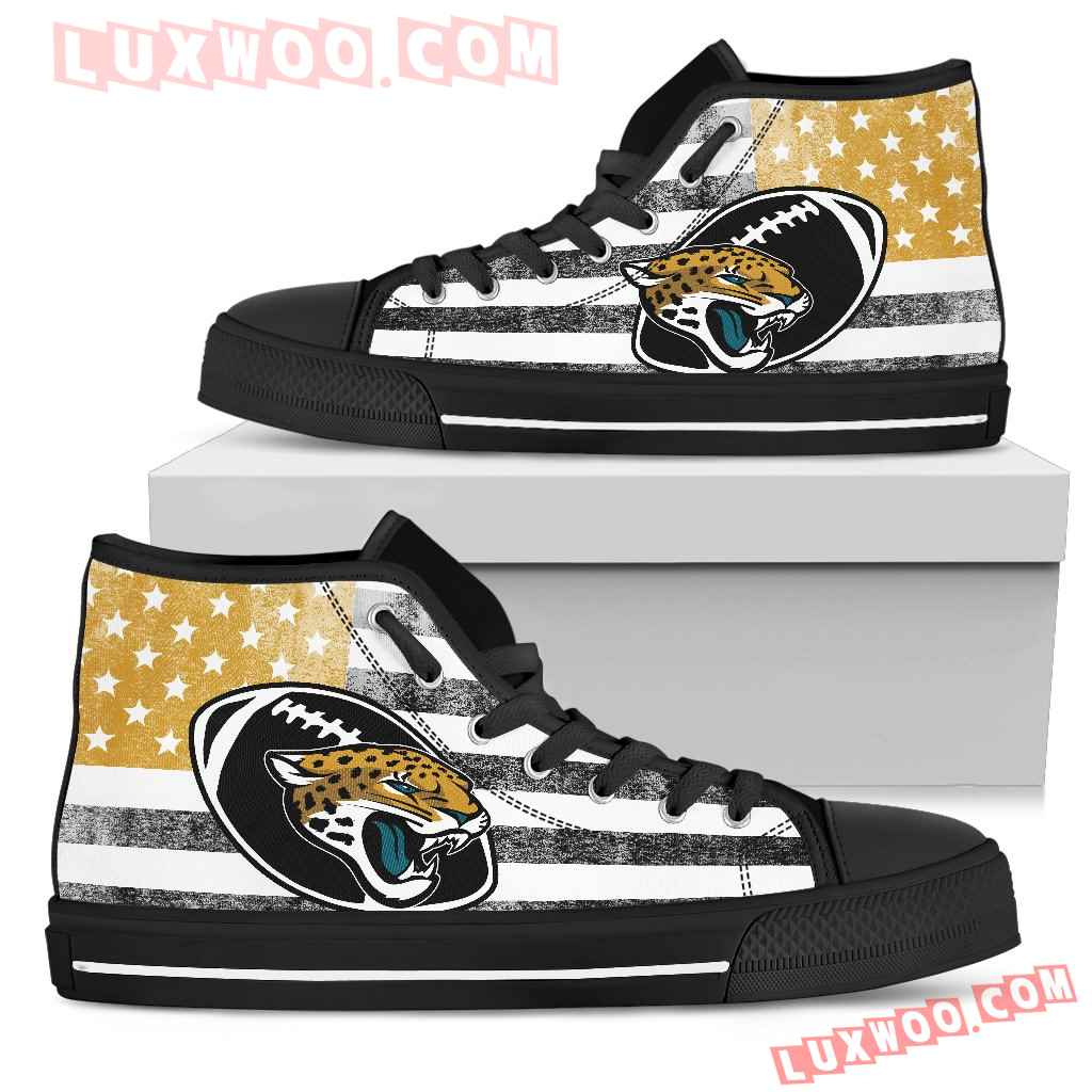 Flag Rugby Jacksonville Jaguars High Top Shoes