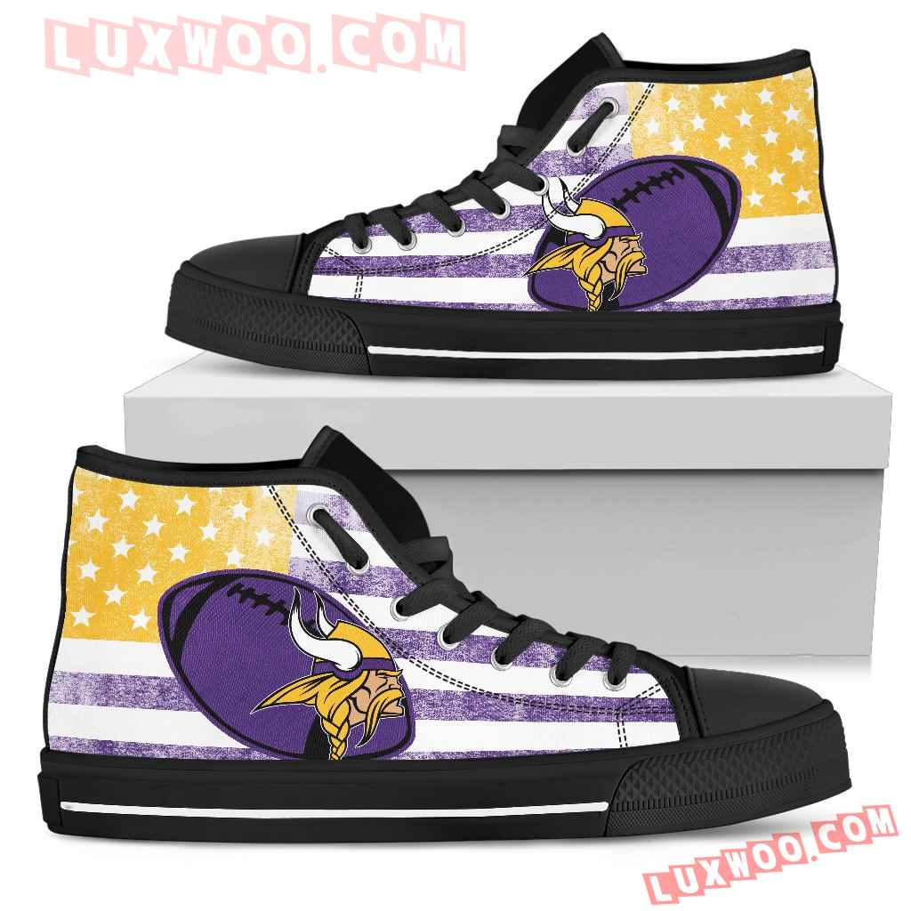 Flag Rugby Minnesota Vikings High Top Shoes