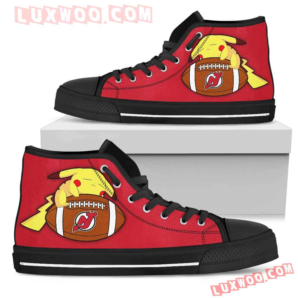 Great Pikachu Laying On Ball New Jersey Devils High Top Shoes