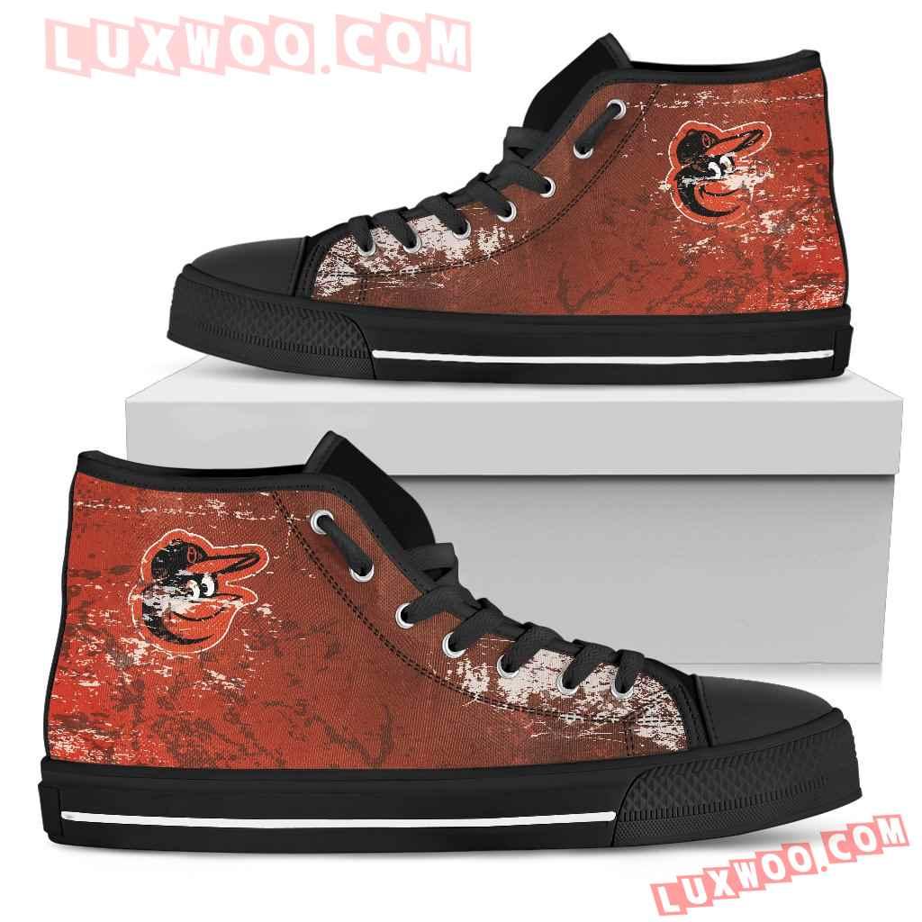 Grunge Vintage Logo Baltimore Orioles High Top Shoes