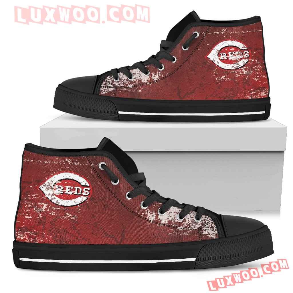 Grunge Vintage Logo Cincinnati Reds High Top Shoes