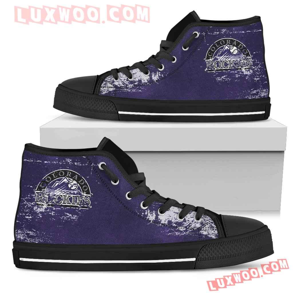 Grunge Vintage Logo Colorado Rockies High Top Shoes