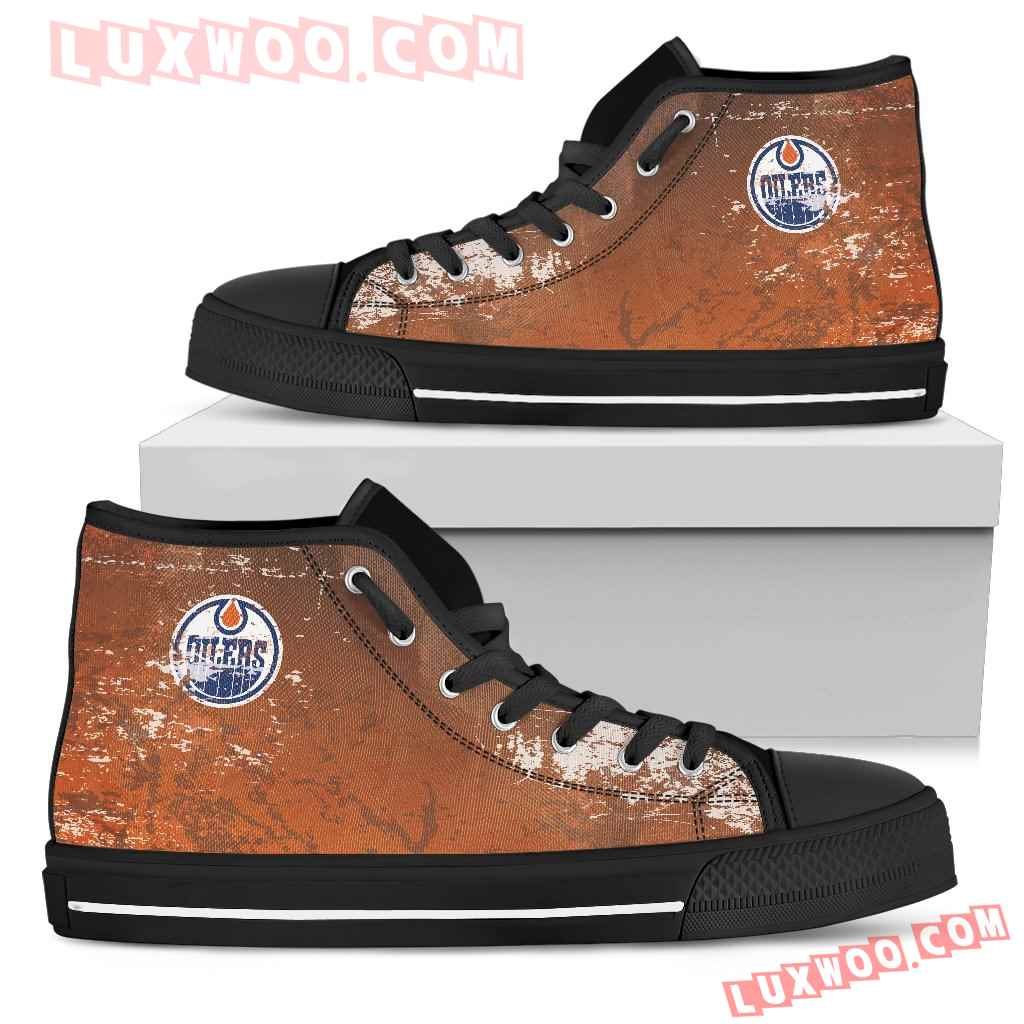 Grunge Vintage Logo Edmonton Oilers High Top Shoes