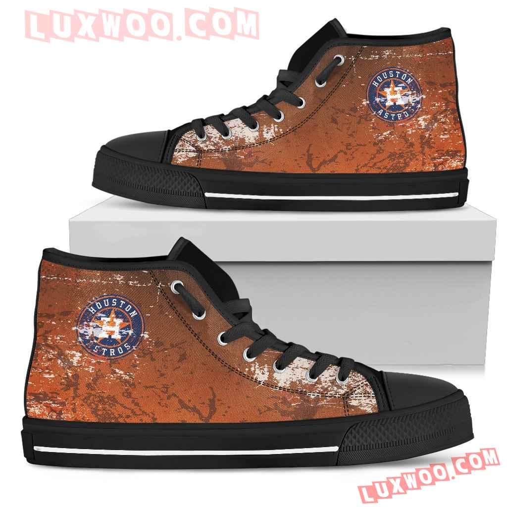 Grunge Vintage Logo Houston Astros High Top Shoes
