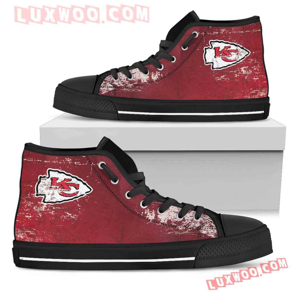 Grunge Vintage Logo Kansas City Chiefs High Top Shoes