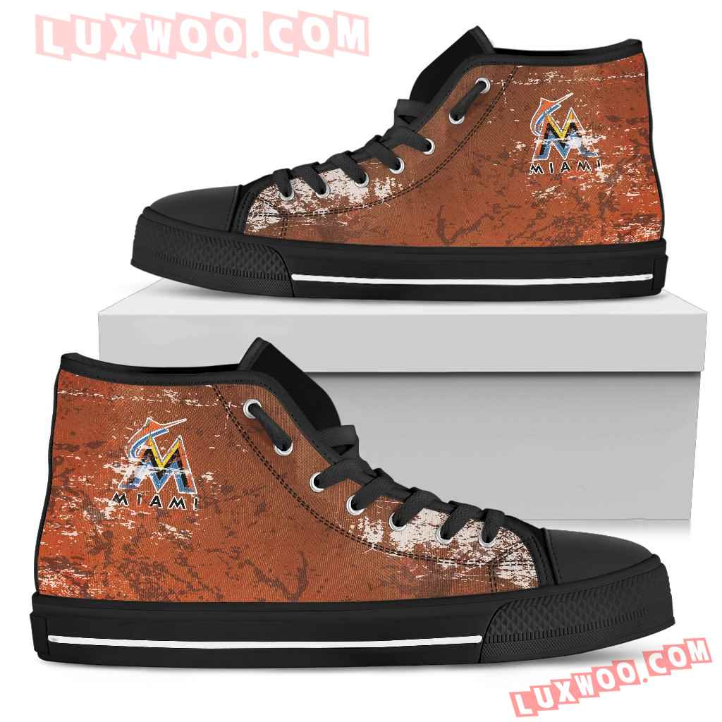 Grunge Vintage Logo Miami Marlins High Top Shoes