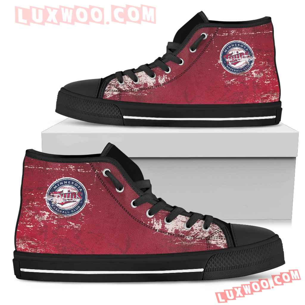 Grunge Vintage Logo Minnesota Twins High Top Shoes