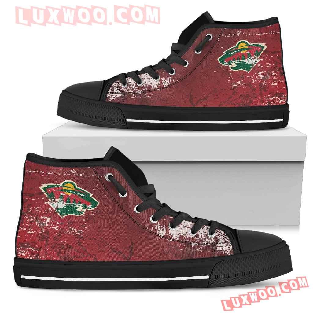 Grunge Vintage Logo Minnesota Wild High Top Shoes